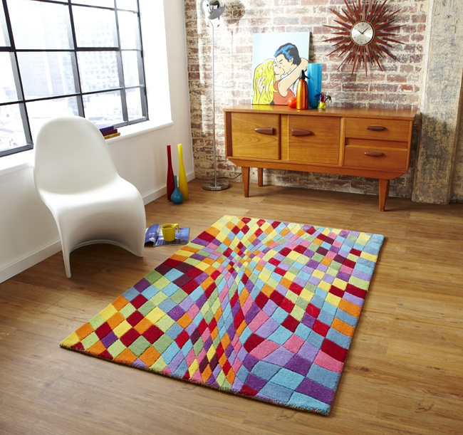 Multi Coloured Hand Tufted Rug Bright Check Super Soft Wool Blend Mat Home Decor