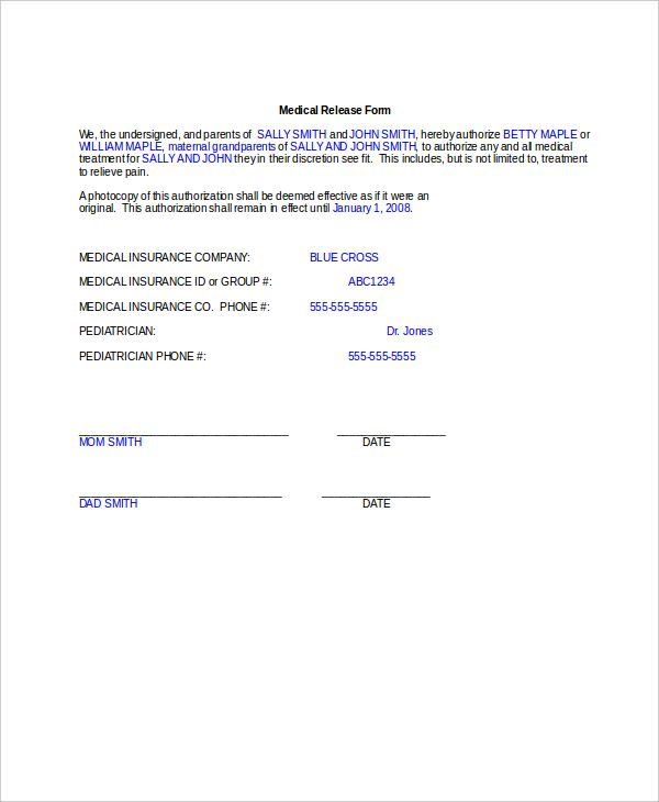Medical Consent Form For Grandparents Consent Forms Medical Consent