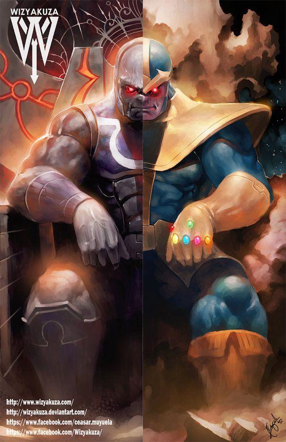 darkseid and thanos by wizyakuza