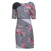 Sandra Darren Pink Pattern Three Quarter Sleeve Dress