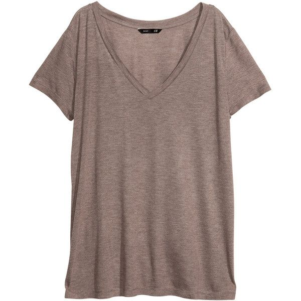 H&M V-neck top ($2.68) ❤ liked on Polyvore featuring tops, t-shirts, shirts, apocalypse, beige, short sleeve shirts, v-neck tee, brown shirts, jersey t shirt and beige t shirt