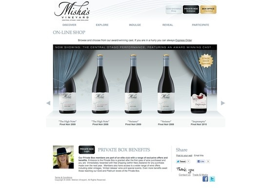 Swordfox designed and developed an ecommerce wine store with a theatrical theme to reflect the core brand story - featuring 'Private Box' and 'Box Office' sections! http://www.mishasvineyard.com/shop/?view_type=default