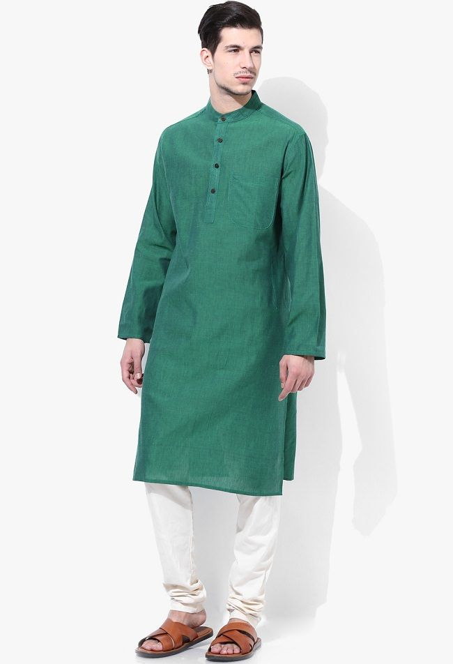 Design House Green Cotton Solid Long Kurta
