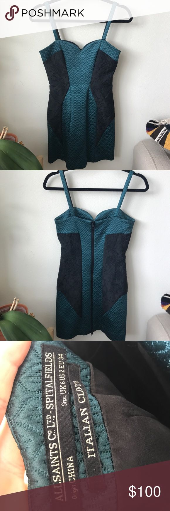 All Saints mini dress zipper back in size 2 Gorgeous Allsaints dress in emerald green and black. Quality, thick fabric. Zipper back. Sexy and sophisticated. Runs small. All Saints Dresses Mini