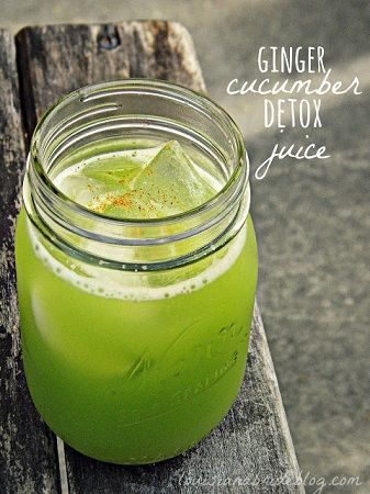 Homemade Ginger Cucumber Detox Juice. Gives Health Benefits & Vitamin info for each ingredient!