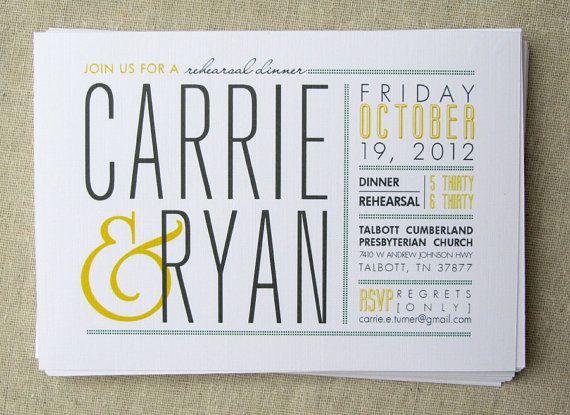 Rehearsal dinner postcard invitation, modern wedding invitation, gray and yellow wedding- emphasis on the name