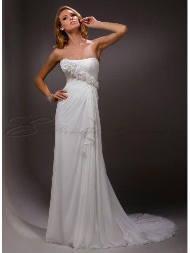 Chiffon Sheath Detachable Rosette Shoulder Strap And Dipped Neckline Wedding Dress - Canada Wedding Dresses Shop