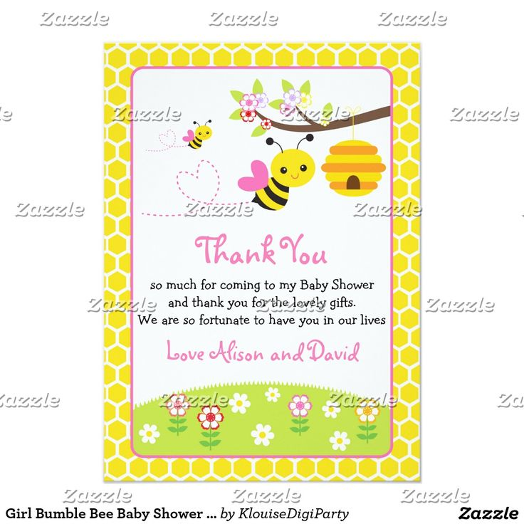 Girl Bumble Bee Baby Shower Thank You Card