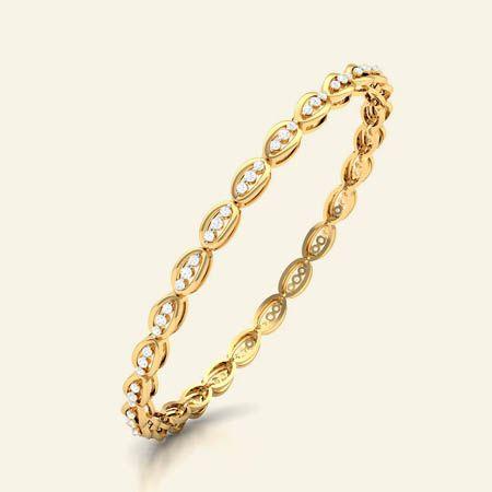 joyelle diamond studded gold bangle