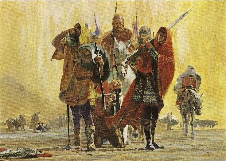 Heat, sand & horses -- National Geographic story on 1st Crusade, December 1963, painting by Stanley Meltzoff.