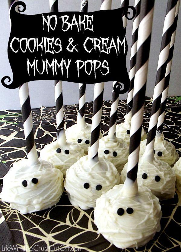 No Bake Cookies & Cream Mummy Pops http://www.lifewiththecrustcutoff.com/no-bake-cookies-cream-mummy-pops/