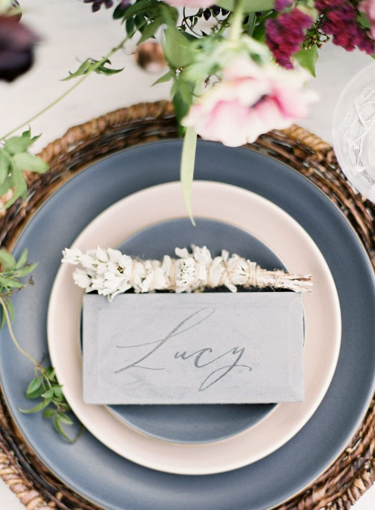 modern slate blue plates with a calligraphy place card