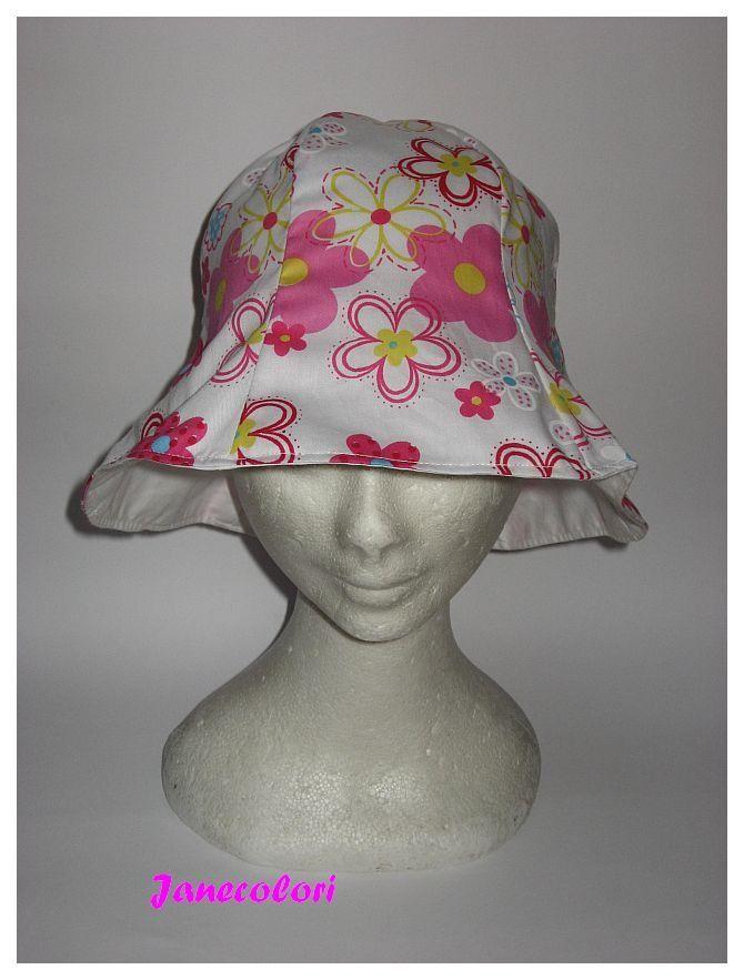 cappello estivo da sole, a campana, reversibile, pink/rosa fiori , sun hat green flowers, chapeaux soleil : Cappelli, berretti di janecolori-accessoires
