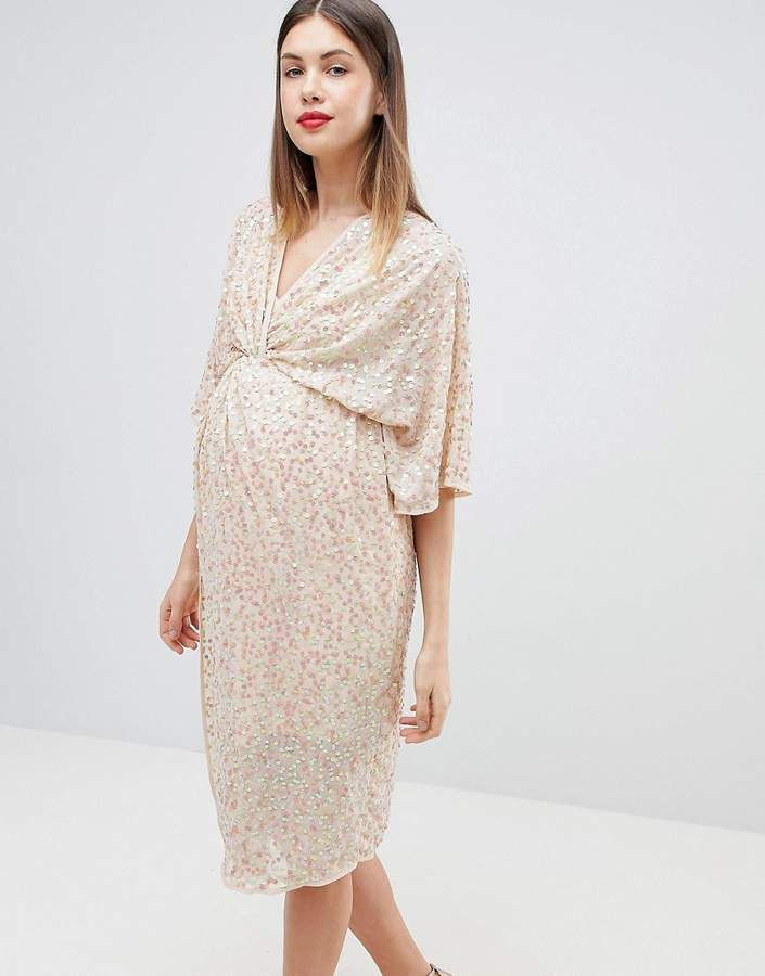 Asos Maternity Asos Design Maternity Sequin Kimono Midi Dress Ad Maternity Maternity Clothes Maternity Dresses Business Women Fashion