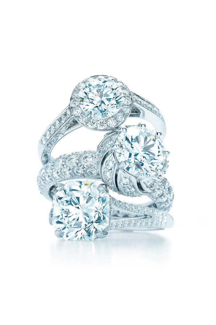 Diamond Engagement Rings, From Top: Tiffany Embrace, Tiffany & Co  Schlumberger®