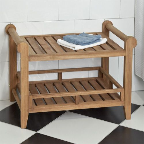 Teak Shower Bench Handles For Assistance And Drying