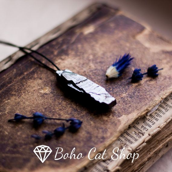 Elite shungite raw crystal pendant Emf protection  Russian mystic stone crystal amulet Reiki aura by bohocatshop. Explore more products on http://bohocatshop.etsy.com