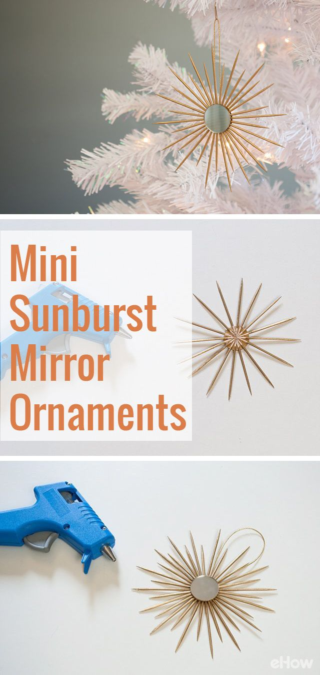 These sunburst ornaments are beautiful and make GREAT diy gifts! They're so easy to make, you can knock out a few in no time. Get the full tutorial here: http://www.ehow.com/how_12341106_diy-miniature-sunburst-mirror-ornaments.html?utm_source=pinterest.com&utm_medium=referral&utm_content=freestyle&utm_campaign=fanpage