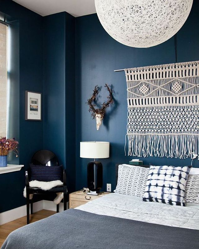 Farrow And Ball Hague Blue Walls Macrame Wall Hanging Boho Masculine Bedroom Blue Bedroom
