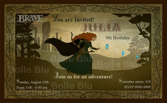 Ribelle principessa Merida  Invito digitale di BolleBluParty, €7.90
