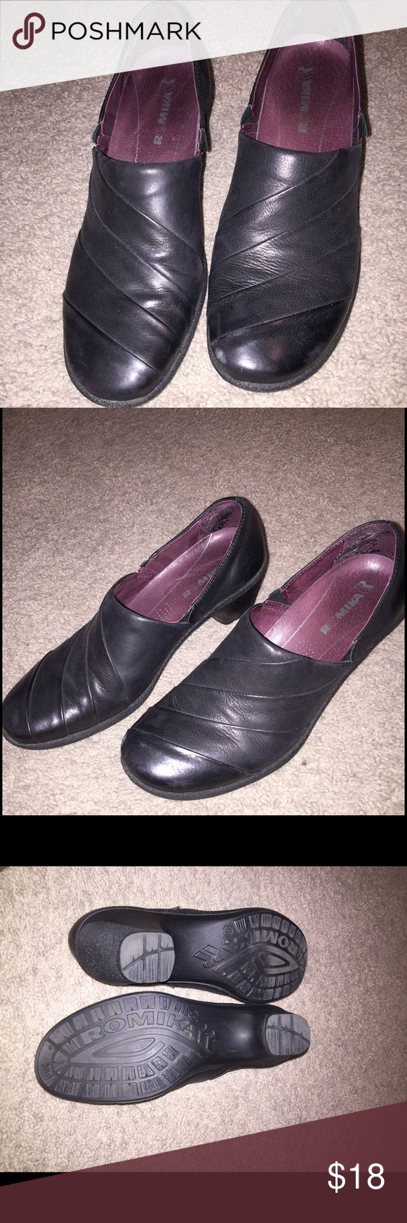 Romika leather loafers Are my worn known for comfort Romika leather loafers.  They are ideal for a 91/2 as they run a little small. They are leather uppers. Romika Shoes Flats & Loafers