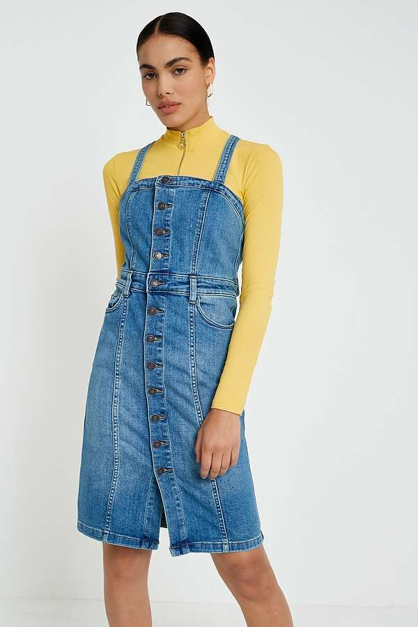 df078a68eae4 Slide View  1  Free People Denim Button-Front Pinafore Dress