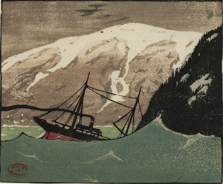 Clarence Gagnon ( 1881 - 1942) Heavy Sea  // love the use of black