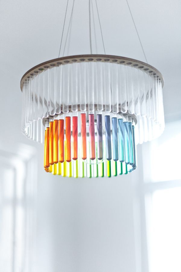 Chandelier / Gang Design could do any colorPendants Lamps, Diy Chandeliers, Lights Fixtures, Trav'Lin Lights, Rainbows, Ceilings Lamps, Test Tube, Mary Cury, Design
