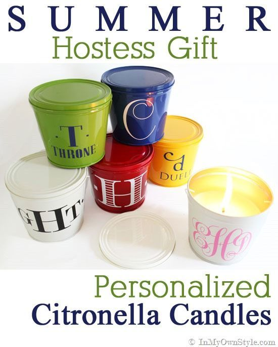 Monogrammed Citronella Candles by In My Own Style.  An easy gift ideas for teachers, Mother's Day Gifts, and for a hostess gift!