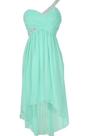 One Shoulder Sparkle Mint High Low Designer Dress  www.lilyboutique.com