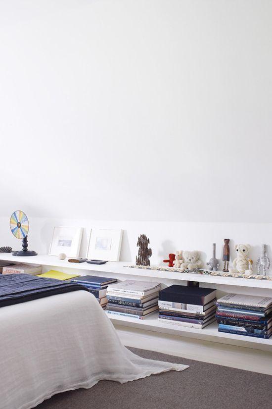 Low bedroom shelves styling ©Richard Powers via Homelife