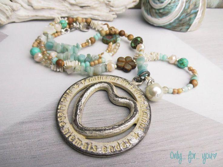 Ketten lang - Lange Kette ☮ Glasperlen ☮ Amulett 'Familie' - ein Designerstück von Only_for_you bei DaWanda