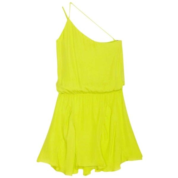 Pre-owned Chartreuse Asymmetrical With Insets In Dress ($107) ❤ liked on Polyvore featuring dresses, chartreuse, one shoulder yellow dress, yellow ruffle dress, one-sleeve dress, asymmetrical dress e yellow dress