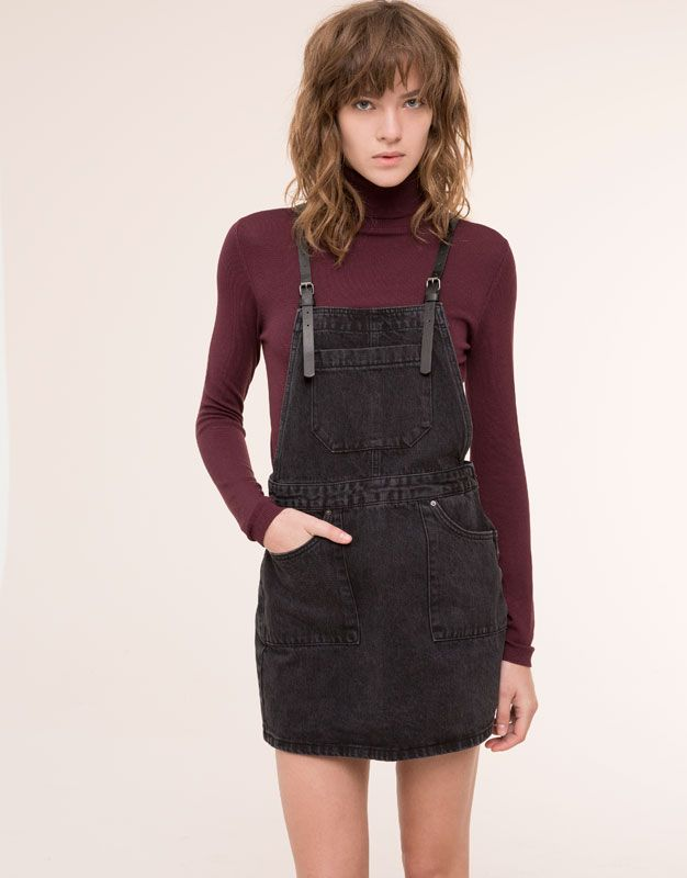 Pull&Bear - woman - dungarees & jumpsuits - black denim dungaree skirt - black - 09635319-I2015