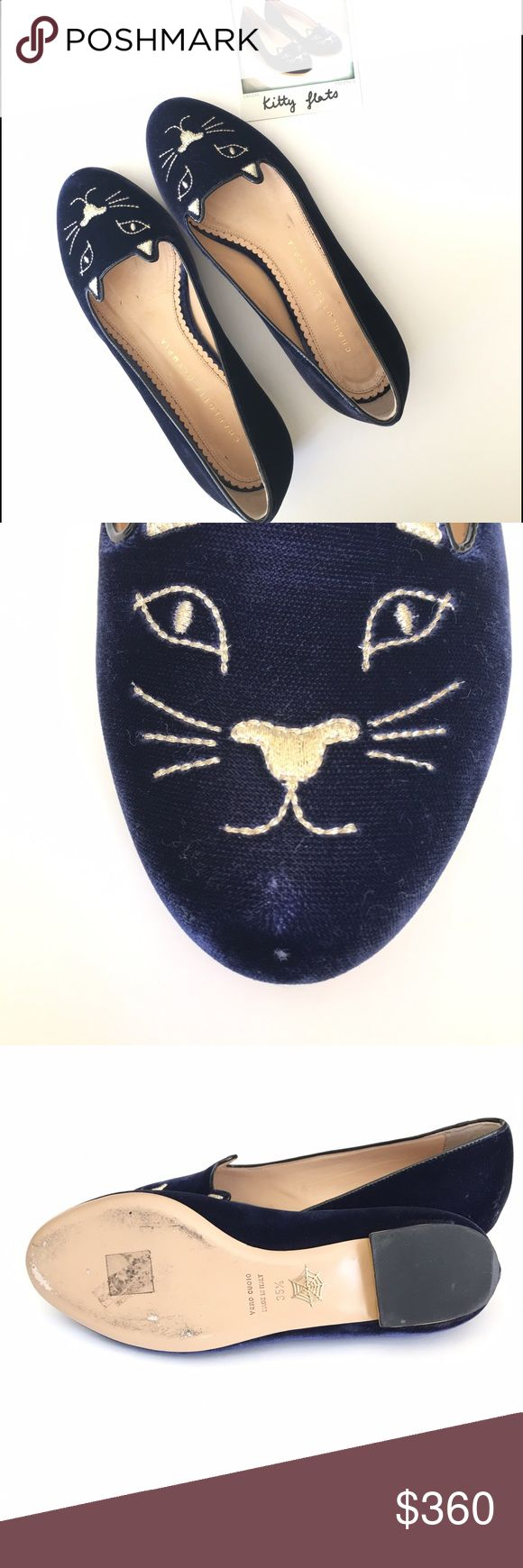 Charlotte Olympia kitty flats size 5.5 Charlotte Olympia Kitty Flats in navy velvet  Size 5.5  Preowned: ligthly used bottom soles show signs of wear, a few scuff marks might be found please refer to pictures.  Comes with box and dustbag Charlotte Olympia kitty flats  An eye-catching smoking slipper is embroidered at the toe with shining metallic thread in a saucy cat face—while a polished golden heel rand adds an extra kick of gleam. Slip-on style.Leather or textile upper/leather lining and…