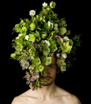 Hellebores. Gah. // Floral headpiece on male model by Takaya Hanayuishi