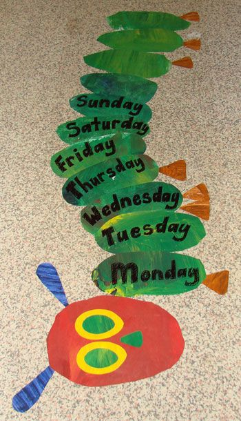 The Very Hungry Caterpillar Art Project. Child sized, taped to the floor and days of the week written.
