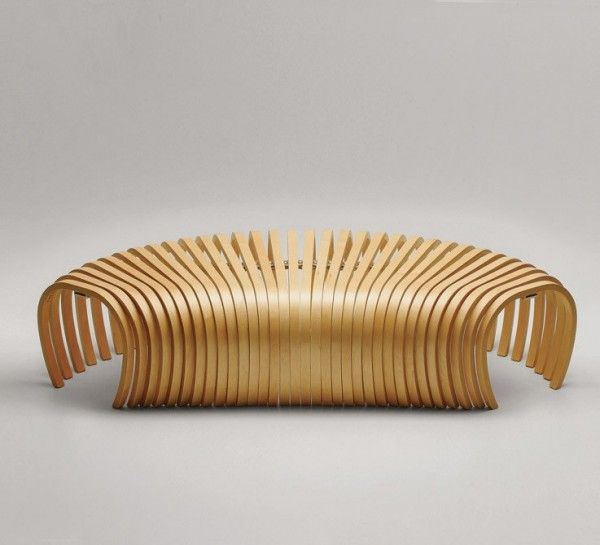 Contemporary Bench in Wooden Ribs Structure   Ribs Bench