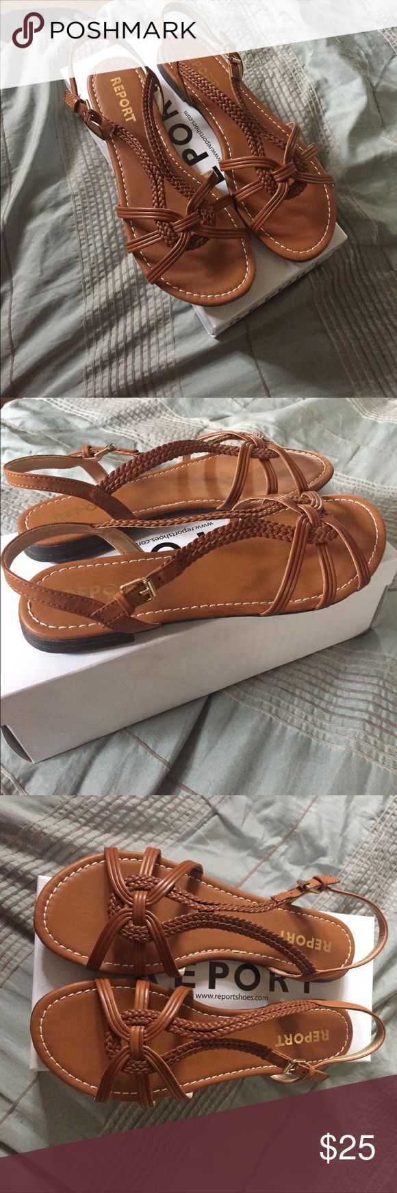 Report Tan Braided Sandal Report Braided Tan Sandal with beautiful woven details and comes in original box. Has ankle strap closure and a short .75 inch heel. Great for the beach or casual night out! Report Shoes Sandals