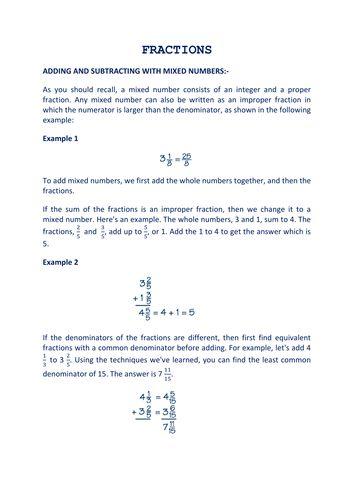 Fractional equations worksheet tes