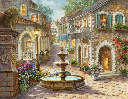Wonderful Fountain On Market Place By Nicky Boehme   Flowers, Fountain, Houses,  Market Place