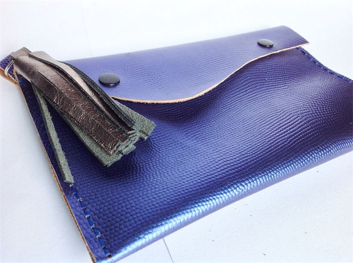 Ladies recycled electric blue leather clutch purse