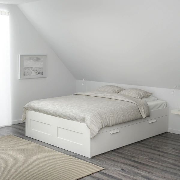 Bed Frame With Storage, Queen Platform Bed Frame With Storage White