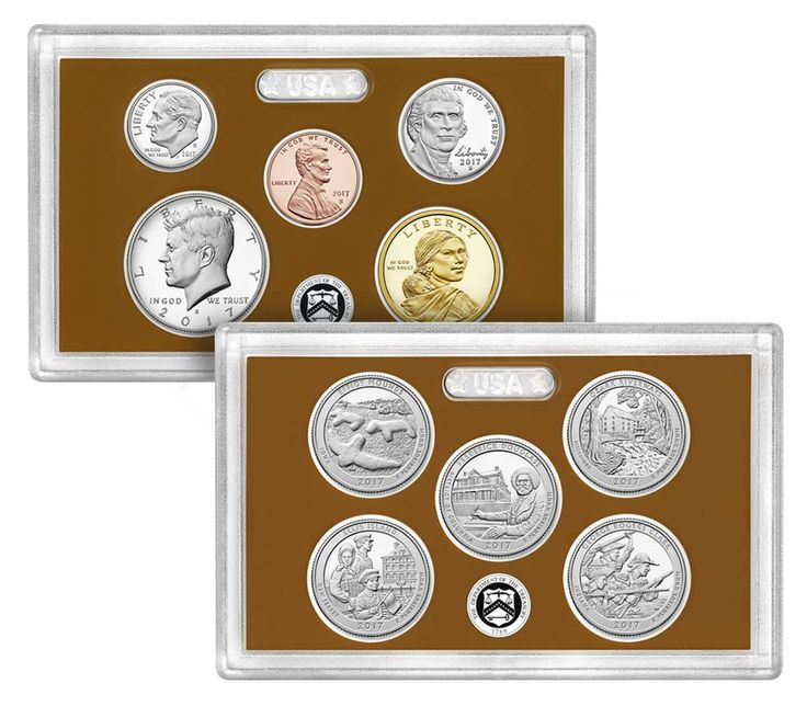 With the U.S. Mint 2017 Proof Set, you will get 10 proof coins dated 2017 encased in two clear plastic lenses in a beautifully designed package you'll be proud to display. The 2017 Proof Coin Set is a great addition for the collector.   The 2017 edition of the United States Mint Proof Set includes the following coins:  The...