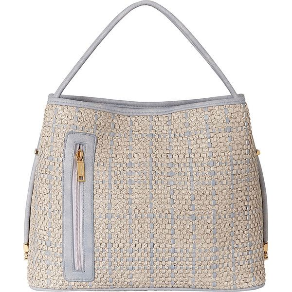 Samoe Tote Convertible Handbag - Woven Snakeskin - Powder Blue and... ($75) ❤ liked on Polyvore featuring bags, handbags, tote bags, white, white tote bag, convertible tote, purse tote, man bag and snakeskin tote
