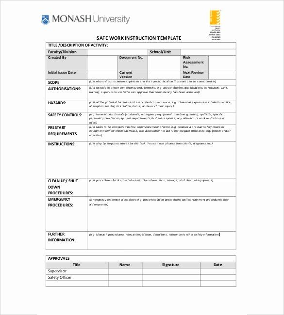 Iso Work Instruction Template Luxury Work Instruction Template