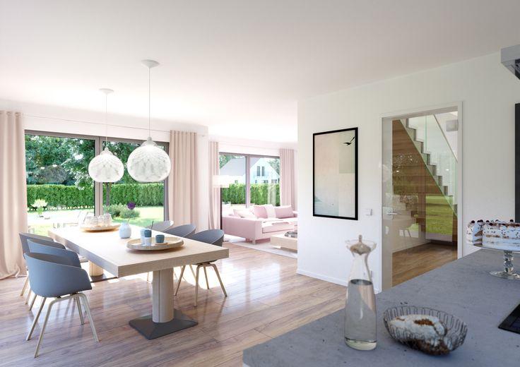 Highlight des Hauses Vero ist der offene Wohn- und Essbereich mit bodentiefen Fenstern und einem Flachdach-Erker im Wohnzimmer.