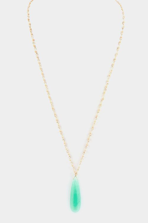 Extra Long Stone Pendant Necklace - Green Opal
