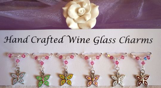 Butterfly Wine Glass Charms - Wine Glass Charms - New Home Gift Ideas £9.99