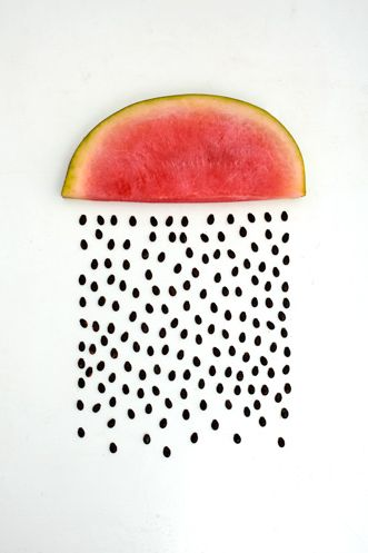I like how the watermelon is placed to look like a rainbow with the seeds 'falling out' like little rain drops. This would be a good design for a lighting fixture